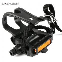 1 Paar Fiets Pedaal Voor Weg Mountainbike Fixed Gear Fiets Pedalen Met Toe Clips Bandjes Fiets Pedaal Baanfiets pedalen