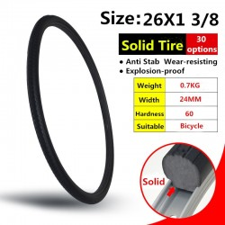 26*1 3/8 Black MTB Solid Fixed Gear Road Bike Tire Bicycle Tire Cycling Tubeless Tyre