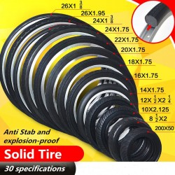 26/24/22/20/18/16/14/12.5/10/8.5 In Bicycle Solid Wear-resistant Airless Tire Anti Stab Riding MTB Road Bike Tyre