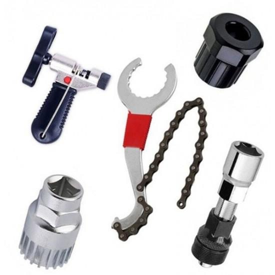 Multifunctional Bicycle Repair Tool Kits Portable Bottom Bracket Wrench Cassette Freewheel Bottom Bracket Bike Chain Remover