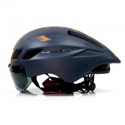 Nieuwe Fiets Helm Met Bril 4 Kleuren Ultralight Mtb Racefiets Helm 57-61Cm Volwassenen Goggleses Casco Ciclismo zwart Blauw