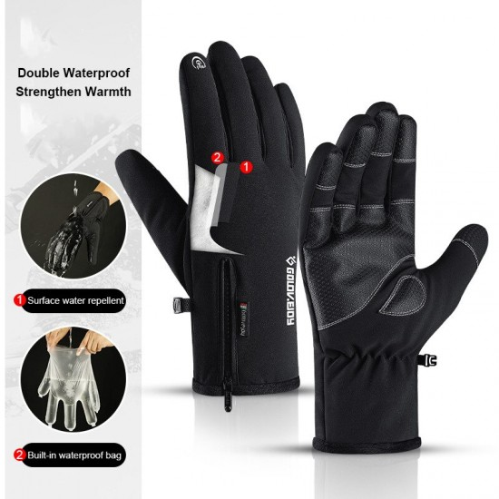 Touch Screen Fiets Handschoenen Winter Warm Fiets Handschoen Volledige Vinger Winddicht Waterdicht Fietsen Handschoenen Voor Mannen En Vrouwen