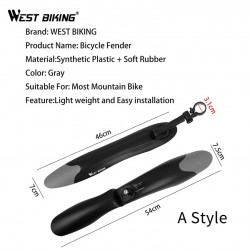 WEST BIKING 1Pair Mountain Bicycle Fender Quick Release Front Rear Cycling Fender Wings Mud Guard Bike Accessories Bike Fender