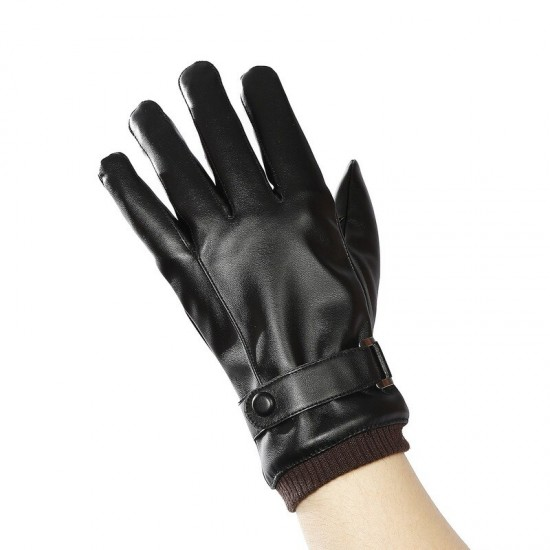 Winter Anti-skid Riding Outdoor Sports Windproof Touch Screen Warm Gloves Men's Waterproof Leather Plus Velvet Gloves